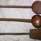 Set of 3 Antique Primitive Copper Utensils Ladle Spatula Skimmer Home Bar Decor