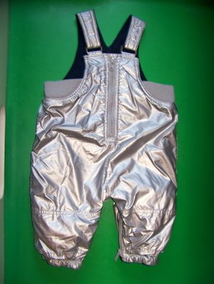 3-6 Baby GAP Fleece Lined Silver Overalls