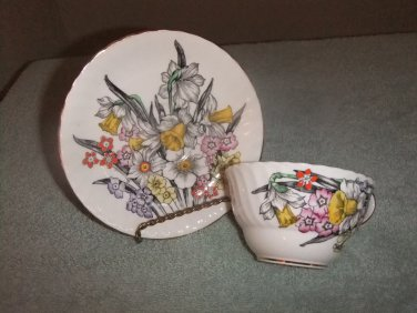 Cup/Saucer Victoria C & E Bone China Hand Painted Daffodils
