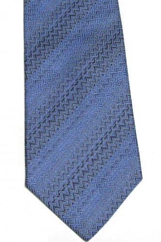 Saliari Silk Necktie Mens Italian Tie Blue Chevron Zig-Zag Extra Long 60 inch Classic Fashion