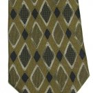 Alfani Italian Silk Necktie Golden Brown Black Mod Diamonds Mens Fashion Tie