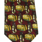 Laurent Benon Silk Necktie Italy Travel Vintage Luggage Mens Tie Novelty 59 Inch