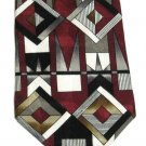 Zylos George Machado Silk Necktie Mens Tie Mod Geometric Squares Crimson Black White Gold
