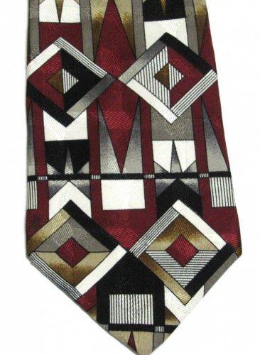 Zylos George Machado Silk Necktie Mens Tie Mod Geometric Squares Crimson Black White Gold