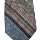 Brittania Skinny Necktie Mens Tie Vintage Stripe Blue Tan Woven Poly/Silk Retro Classic 70s