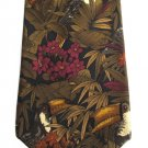 Harolds Silk Necktie Toucan Tropical Bird Mens Tie Forest Island Nature Flowers Green Cranberry