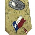 Texas Longhorn Necktie Silk Tabasco Mens Tie State Flag Sheriff Cactus Spurs Map Tan Vintage