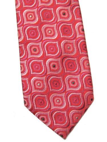 Geoff Nicholson Italian Silk Necktie Extra Long 60 Salmon Pink Retro Mod Geometric Designer Mens Tie