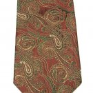 Peacock Vintage Necktie Mens Tie Silk Paisley Brocade Green Gold Coral 59 Inch Retro Fashion