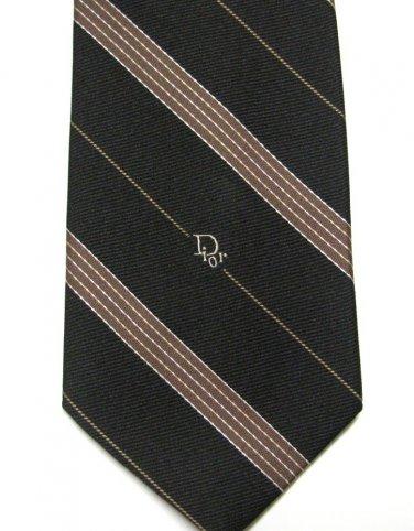 Christian Dior Vintage Necktie Mens Designer Tie Dark Brown Tan Stripe 70s Poly Silk 54 Inch