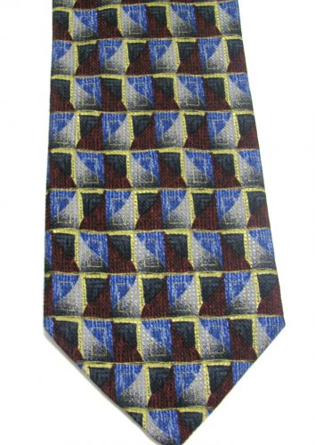 Italian Silk Necktie Mens Tie Pavia Crimson Red Blue Gold Mod Squares Woven Dots Shimmer 58 Inch