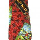 Out West Necktie Mens Tie Western Adventure California Horse Roping Red Black Paisley