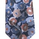 Oscar De La Renta Vintage Necktie Mens Tie Silk Blend Watercolors Mod Flowers Blue Tan Leaf 57 Inch