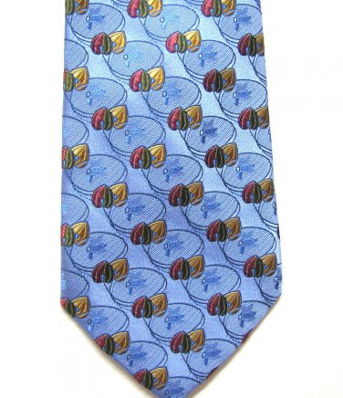 Harold Powell Silk Tie Mens Necktie Soft Blue Embroidered Flower Rose Gold Green 59.5 Inch