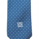 Givenchy Gentlemen Original Paris Vintage Tie Men Necktie Blue White Dot Embroider Logo Skinny 55.5