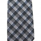 Funky Plaid Necktie Silk Mens Skinny Tie Egara Gray Black Shiny 59.5 Retro Mod