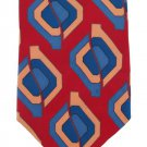 Pierre Balmain Silk Necktie Tie Italy Modern Abstract Dark Red Crimson Blue Teal Tan 59