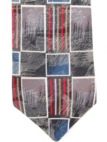Surrey Vintage Necktie Funky Tie Mod Squares Rectangle Pencil Sketch Gray White Red Blue 56.5