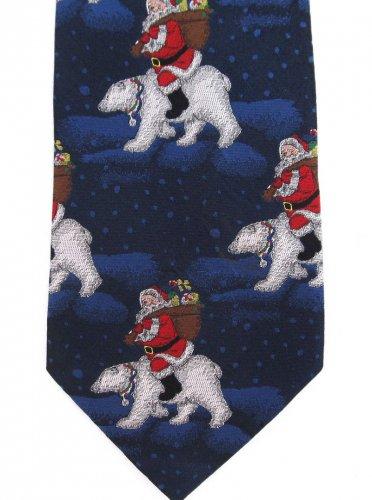 St Nicks Tie Shop Necktie Christmas Santa Polar Bear Silk Hand Made Holiday Blue Red White 59