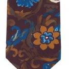 Geoffrey Beene Necktie Mod Flowers Paisley Plum Yale Blue Yellow Funky Designer Tie 58