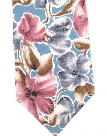 Oscar De La Renta Tie Mens Long Necktie Hibiscus Pansy Tropical Flower Blue Rose Silk Vintage 59