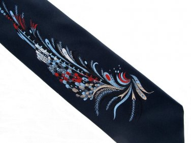Don Loper Tie Mens Vintage Necktie Dark Navy Blue Peacock Feather Spray Embroidered 56