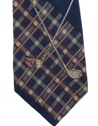 Nautica Silk Tie Mens Necktie Golf Plaid Caddy Clubs Embroidery Old School Classic 58