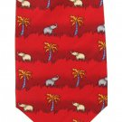 Jim Thompson Elephant Necktie Tie Thai Silk Palm Tree Jungle Safari Red Gray Tan 58