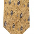 Antani Collezioni Italian Silk Necktie Extra Long 60 Classic Mens Tie Gold Mod Leaf Blue Italy
