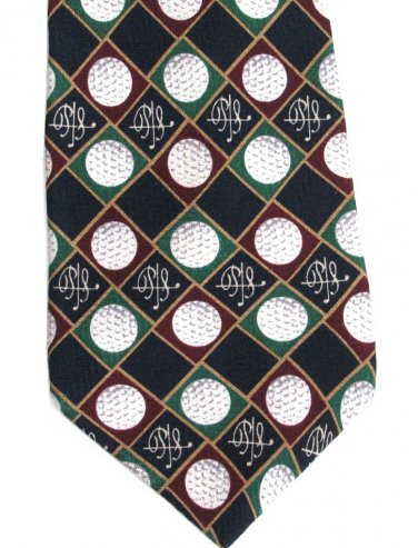 Payne Stewart Golf Ball Tie Imported Silk Classic Tartan Green Blue Maroon 58