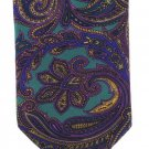 Lord Taylor Italian Silk Tie Mens Necktie Paisley Purple Kelly Green Gold Classic Luxury 59.5