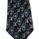 Croft Barrow Silk Tie Mens Necktie Mod Diamonds Stars Ovals Black Silver Blue 58