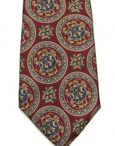 Bill Blass Silk Tie Mens Necktie Crimson Red Royal Seal Gold Classic 59