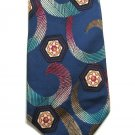 Abstract Necktie Mens Silk Tie Funky Art Swirls Hexagon Aqua Plum Cranberry Barrys 58