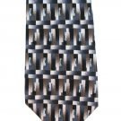 Barrington Silk Tie Abstract Modern Mens Necktie Blocks Brown Gold Tan Blue 57