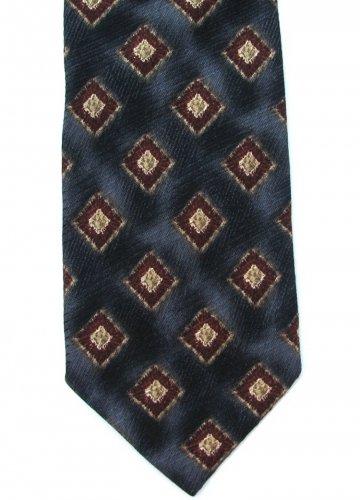 Harold Powell Silk Tie Mens Necktie Italy Black Gray Maroon Diamonds Modern 57