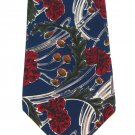Mens Extra Long Tie Mens Necktie 61.5 Damon Imported Silk Dark Blue Red Flowers Carnation Foliage