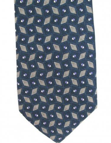 Geoffrey Beene Necktie Silk Mens Tie Steel Blue Green Diamonds Shine Luxury Fashion 58