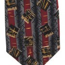 Gianfranco Italian Silk Necktie Extra Long Tie 61 Mod Gray Black Maroon Stripe Boxes