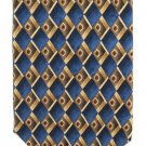 Roundtree Yorke Mens Necktie Silk Tie Blue Gold Diamonds Classic Fashion Iridescent 58