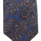Italian Silk Neck Tie Mens AJ August Fashion Small Paisley Blue Maroon Gold Iridescent 58