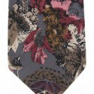 Enrico Guccini Extra Long 65 Italian Silk Tie Watercolor Abstract Flowers Gray Cranberry Pink