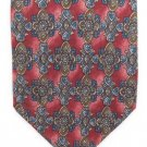 Bill Blass Silk Tie Art Nouveau Classic Luxury Maroon Blue Tan 55