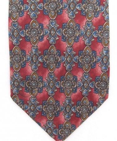 Bill Blass Silk Tie Art Nouveau Classic Luxury Maroon Blue Tan 55