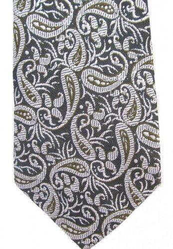 Brocade Silk Neck Tie Mens Silver Green Gold Gray India Hand Loom 54 Vintage Modern Paisley