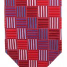 Extra Long Silk Tie 64 Babara Blank Red Blue Squares Bars Mod Design Iridescent Big Tall Handmade