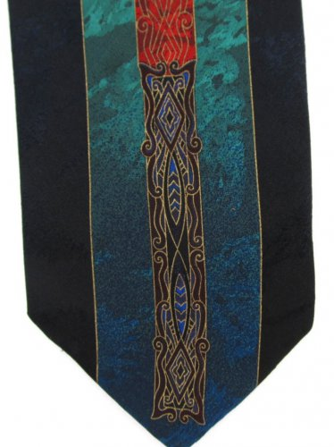 Pertini Italy Silk Tie Modern Art Nouveau Iridescent Black Gold Red Teal 58