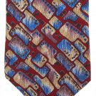 London Fog Italian Silk Necktie Mod Abstract Maroon Blue Cream Purple Vintage 55