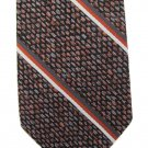 Vintage Skinny Necktie Tie 2.5 Inch Woven Polyester Stripe Tweed Orange Gray Australia Mad Men 57