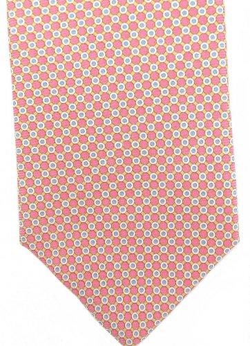 Harold Powell Extra Long 60 Silk Necktie Tie Pink Yellow Mod Dots Blue Fowlard Luxury